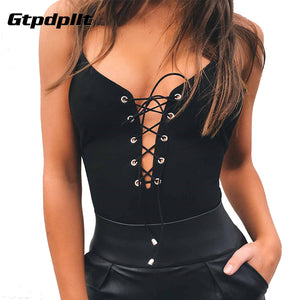 Gtpdpllt Sexy Lace Up Bodysuit Women Bandage Summer Backless Deep V Neck Playsuit Party Bodycon Rompers Jumpsuit Overalls - Cozzoo
