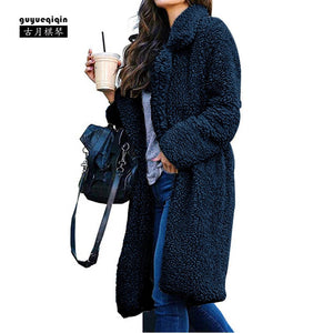 Guyueqiqin Women Jacket Winter Long Coat Solid Color Cardigans Ladies Warm Faux Fur Coat Hoodie Outwear 6 Colors Large Size 3XL