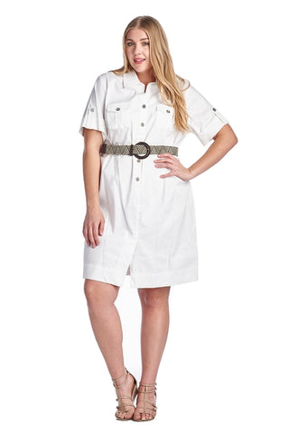 Women's Plus Size Button Down Belted Shirt Dress - Cozzoo