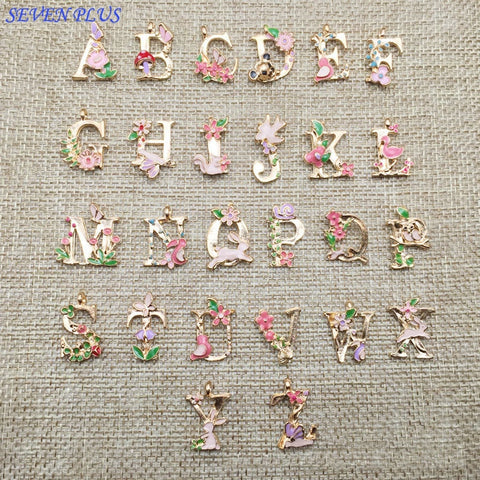 High Quality 1 Piece/Lot 13*18mm Gold Color Flower Letters Charms Alphabet Initial Bracelet Charm Pendant For Jewelry Making A-Z