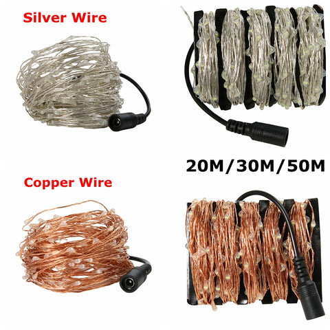 Hot 20M/30M/50M Led Silver Copper Wire 200/300/500 LED String Light Starry Lights For Christmas Parties Wedding Beddingroom KTV