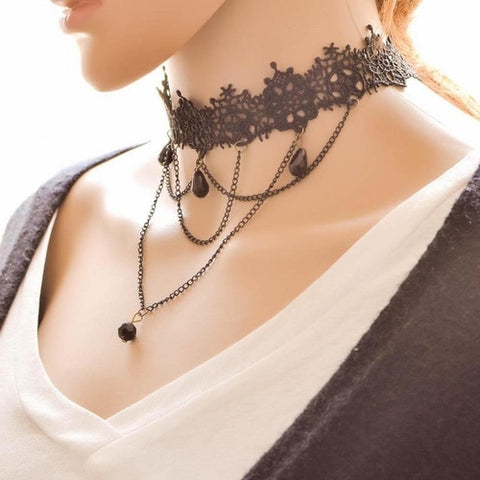Hot Women's Fashion Necklace Jewelry Black Lace - Cozzoo
