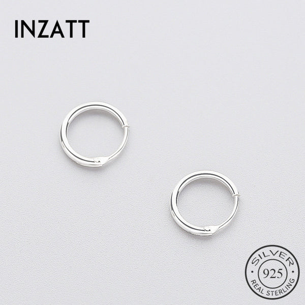 INZATT Real 925 Sterling Silver Minimalist Smooth Round Hoop Earrings Fine Jewelry Personality Accessories Black White Color - Cozzoo