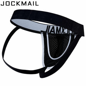 JOCKMAIL Brand Mesh Men Jockstraps gay underwear Sexy Men underwear penis  pouch Push UP men thong string homme tanga hombre