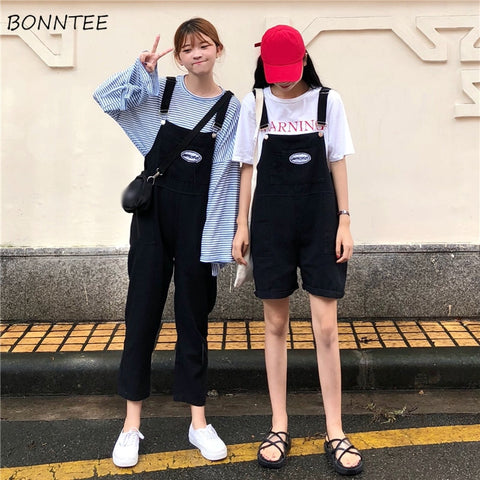 Jumpsuits Women Girlfriends Clothing High Waist Solid Chic Womens Jumpsuit Loose Korean Style Pockets Ladies All-match Students - Cozzoo