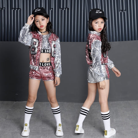 Kids Sequin Hip Hop Clothing Clothes for Girls Jacket Crop Tank Tops Shirt Shorts Jazz Dance Costume Ballroom Dancing Streetwear - Cozzoo