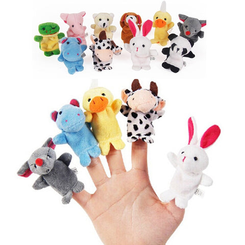 LeadingStar 10PCS Cute Cartoon Biological Animal Finger Puppet Plush Toys Child Baby Favor Dolls Boys Girls Finger Puppets zk25