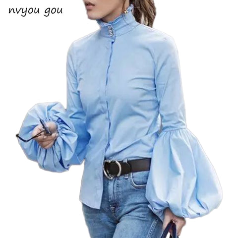 Long Wide Lantern Sleeve Blue Blouse Women Button Down Blouses Shirts Female Winter Fashion Tops Turtleneck - Cozzoo