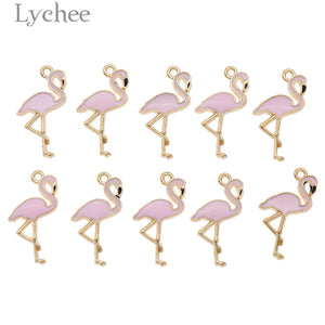 Lychee 10pcs Trendy Alloy Flamingo Squirrel Enamel Charms Lovely DIY Pendant Handmade Jewelry for Necklace Bracelet
