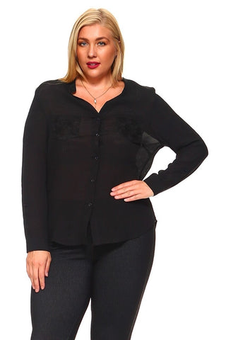 Women's Plus Size Button Down Long Sleeve With - Cozzoo