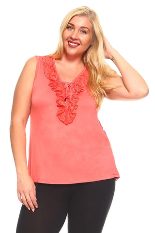 aa76132db2d66 Women s Plus Size Sleeveless Top With Lace Detail - Cozzoo