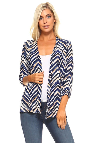 Women's 3/4 Three Quarter Zig Zag Soft Cardigan - Cozzoo