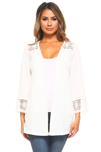 Women's Stretch Crochet Detail Cardigan - Cozzoo