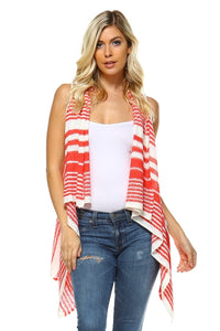 Women's Stripe Hi-Low Sleeveless Cardigan - Cozzoo