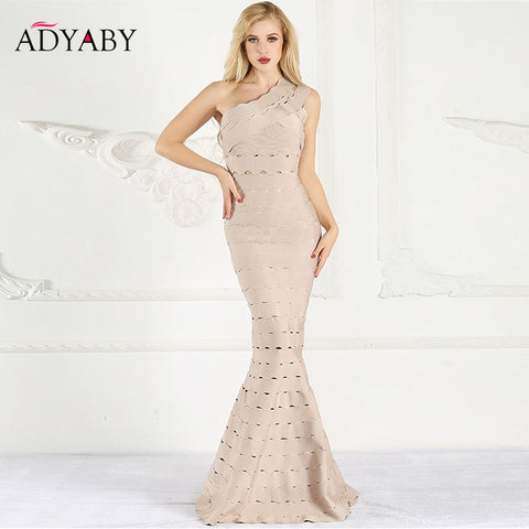 Mermaid Bandage Dress Maxi One Shoulder Elegant Celebrity Party Dresses Women Summer 2018 Fashion Sexy Long Dress Hollow Out - Cozzoo