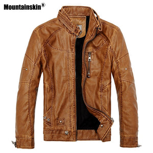 Mountainskin 2018 Winter Men's Leather Jackets Casual Men Vintage Motorcycle PU Faux Jacket Male Moto Coats Brand Clothing SA086