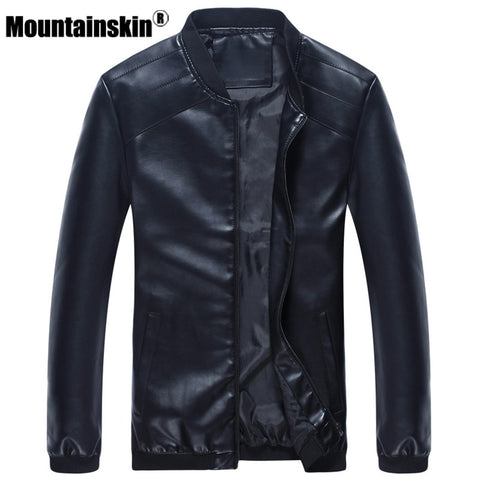 Mountainskin Leather Jackets Men's Coats 4XL Fashion PU Leather Men's Jackets Motorcycle Autumn Male Outerwear Slim Fit SA335