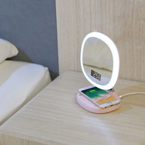 Multifunction make up lamp LED Qi Pad Charging Wireless Cell Phone Charger Holder Table Stand Foldable Light for iPhone X8