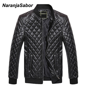 NaranjaSabor Men's PU Leather Jacket Stand Collar Parkas Men Thick Warm Clothing Motorcycle Leather Coats Spring Male Coat 4XL