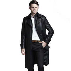New 2018 Men's Brand Fashion Business Sheepskin Windbreaker Men Genuine leather motorcycle Leather Jacket trench coat M-4XL