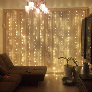 New Year 3M x 3M Outdoor Curtain Icicle 300LED String Lights 8 Modes Fairy Garland Home For Christmas Holiday Wedding Party - Cozzoo