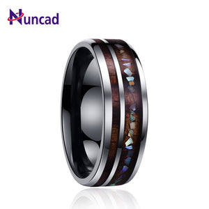 Nuncad classic men rings wide 8mm veneer handmade inlay broken shell tungsten carbide ring for husband's gift dropT098R