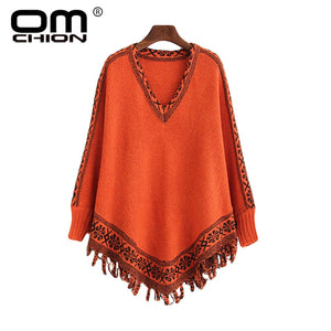 OMCHION Chaqueta Mujer Autumn Korean Batwing Sleeve Poncho Women O Neck Casual Tassel Knit Sweater Loose Retro Pullover LMM33