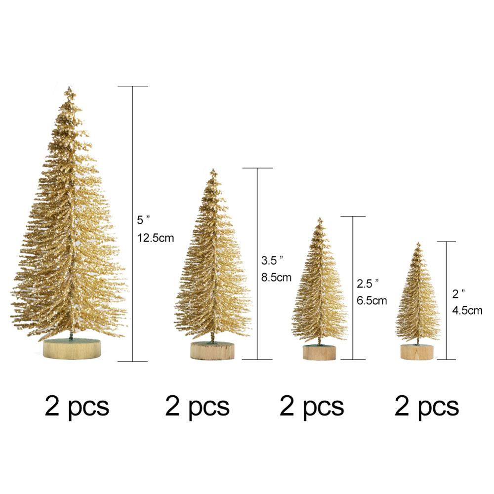 ourwarm 8pcs stand mini christmas tree new year gifts christmas decorations for home small pine tree - Mini Christmas Tree Ornaments