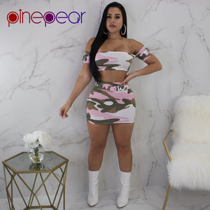 PinePear Camouflage Sexy Crop Top and Skirt Women 2 Two Piece Set Clubwear 2019 Summer Cute Pink Camo Street Party Club Wear - Cozzoo
