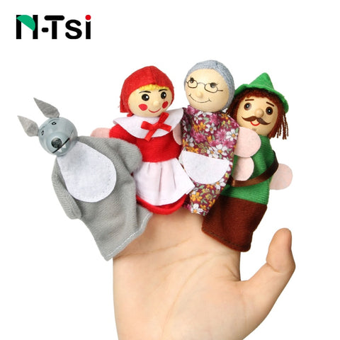 Popular Baby Cartoon Animal Monkey People Finger Puppets Wooden Theater Soft Doll Kids Educational Toys for Children Gift Play