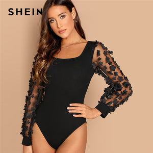 SHEIN Going Out Modern Lady Black Flower Applique Mesh Sleeve Square Neck Bodysuit Women Autumn Plain Elegant Bodysuits - Cozzoo