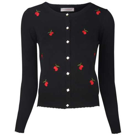 Womens Button Down Long Sleeve Knit Cherry Basic Cardigan Sweater Black - Cozzoo