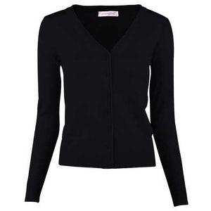 Women Button Down Long Sleeve Basic Soft Knit Cardigan Sweater Black - Cozzoo