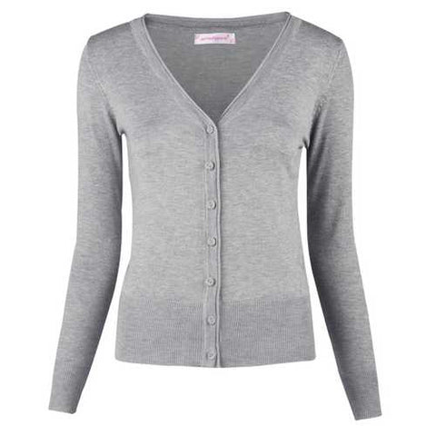 Women Button Down Long Sleeve Basic Soft Knit Cardigan Sweater Grey - Cozzoo