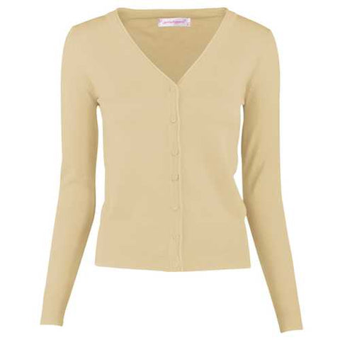Women Button Down Long Sleeve Basic Soft Knit Cardigan Sweater Khaki - Cozzoo