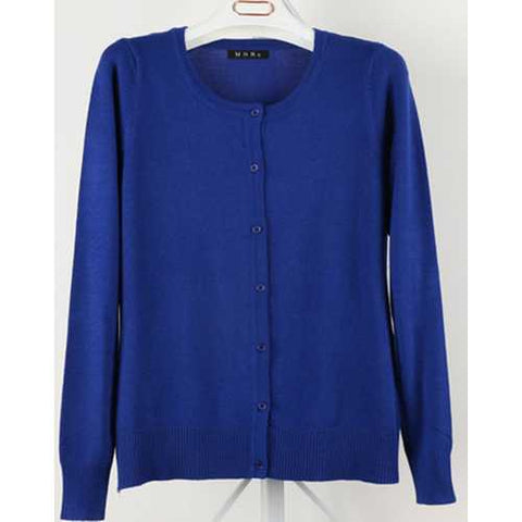 Women Button Down Crew Neck Long Sleeve Soft Knit Cardigan Sweater Dark Blue - Cozzoo
