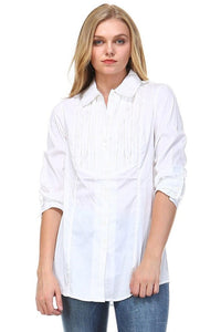 Women's 3/4 Three Quarter Sleeve Button Down - Cozzoo