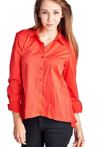 Women's Long Sleeve Button Down Woven/Knit Top - Cozzoo