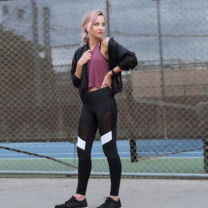 Sexy Mesh Splice Sport Leggings Women Fitness Gym - Cozzoo