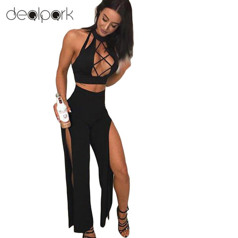 Sexy Women 2 Piece Set Outfits Turtleneck Sleeveless Crop Tops Hollow out High Split Clubwear Romper Jumpsuit female Suit Black - Cozzoo