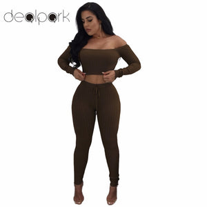 Sexy Women Tracksuit Two Piece Set Crop Top Leggings Solid Ribbed Off Shoulder High Waist Slim Club Wear Sportswear Pantsuit - Cozzoo