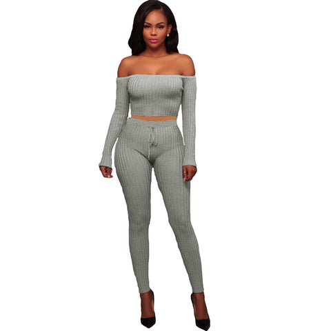Sexy Women Two Piece Set Crop Top Leggings Solid Ribbed Off Shoulder High Waist Slim Club Wear Green/Grey/Black/White/Coffee/Red - Cozzoo