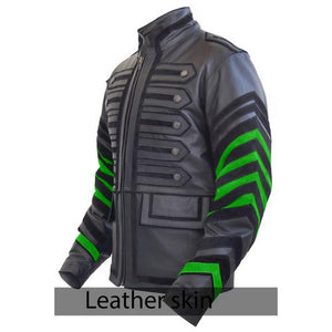 Leather Skin Stylish Black Men Miltary Genuine Leather Jacket with green Sleeves - Cozzoo
