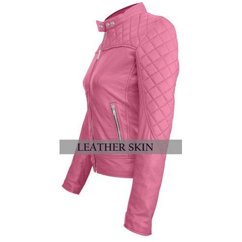Leather Skin Women Pink Quilted Genuine Leather Jacket - Cozzoo