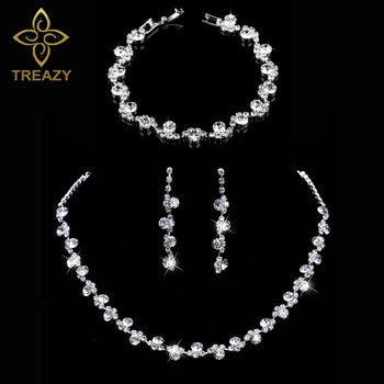 TREAZY Crystal Bridal Jewelry Sets Silver Color Charm Floral Wedding  Necklace Earrings Bracelet Set Women Wedding aafe0e7015c7