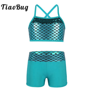 TiaoBug Kids Girl Tankini Suit Sequins Mermaid Scales Crop Top with Shorts Set for Gymnastics Workout Ballet Party Dance Wear - Cozzoo