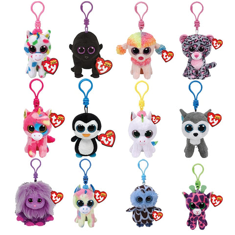 "Ty Beanie Boos Big Eyes Plush Dog Keychain Doll Unicorn Penguin Leopard Owl Monkey Clip Toys With Tag 4"" 10cm"