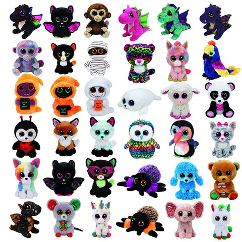 "Ty Beanie Boos Plush dolls 6"" 15cm Lollipop unicorn Poodle Dog Darla dragon Leopard Pinky owl Unicorn Collection Doll toy"