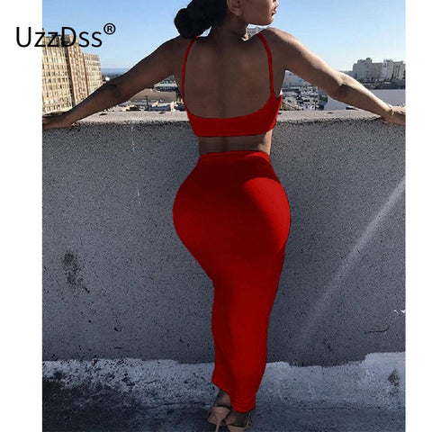 UZZDSS Women Summer Sexy Two Piece Set Crop Top Spaghetti Strap Sleeveless Backless Solid Stretch Party Dress Club Wear - Cozzoo