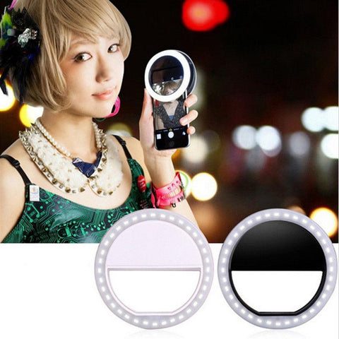Universal Selfie LED Ring Flash Fill Light Clip Camera Enhancing Photography For IPhone Android Phone  Pink White Black